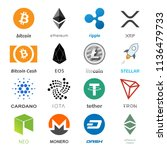 cryptocurrency coin sign vector ... | Shutterstock .eps vector #1136479733