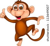 monkey cartoon dancing | Shutterstock .eps vector #113649007