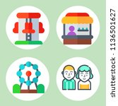 simple 4 icon set of family... | Shutterstock .eps vector #1136501627