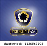gold badge or emblem with... | Shutterstock .eps vector #1136563103