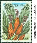 Small photo of LAOS - CIRCA 1984: stamp printed by Laos, shows Aeschynanthus speciosus, circa 1984.