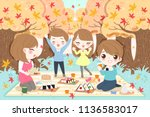 cute cartoon family at picnic... | Shutterstock .eps vector #1136583017