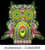 Owl Psychedelic Pop art Design - stock photo