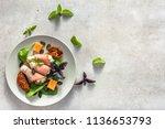 italian food on plate ... | Shutterstock . vector #1136653793