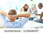 rear view of relaxed teacher... | Shutterstock . vector #113666047