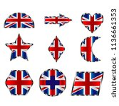 flag of great britain  set of... | Shutterstock .eps vector #1136661353