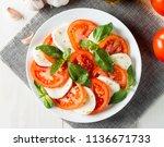 close up photo of caprese salad ... | Shutterstock . vector #1136671733