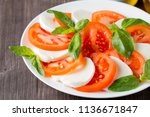 close up photo of caprese salad ... | Shutterstock . vector #1136671847