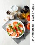 close up photo of caprese salad ... | Shutterstock . vector #1136671883