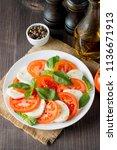 close up photo of caprese salad ... | Shutterstock . vector #1136671913