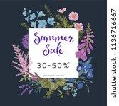 summer sale. twilight garden.... | Shutterstock .eps vector #1136716667