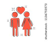 vector cartoon man and woman... | Shutterstock .eps vector #1136753573