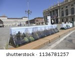 anti terrorism barriers covered ...   Shutterstock . vector #1136781257