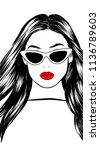 retro cat eye sunglasses... | Shutterstock .eps vector #1136789603