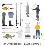 fishing man with fish  fish rod ... | Shutterstock .eps vector #1136789987