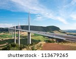 Millau Viaduct, Aveyron Departement, France - stock photo
