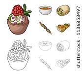 cake with raspberries ... | Shutterstock .eps vector #1136853497