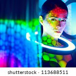 beautiful fashion woman color  face art dot circle shadow - stock photo