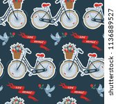 seamless pattern with bicycles  ... | Shutterstock .eps vector #1136889527
