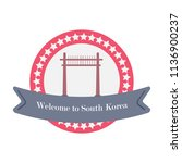 korean welcome sticker in flat... | Shutterstock .eps vector #1136900237