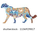 asian cheetah decorated with... | Shutterstock .eps vector #1136929817