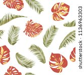 summer exotic floral tropical... | Shutterstock .eps vector #1136963303
