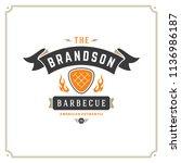 grill restaurant logo vector... | Shutterstock .eps vector #1136986187