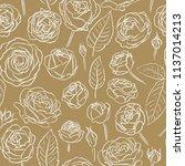 roses. elegant hand drawn... | Shutterstock .eps vector #1137014213