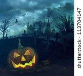 halloween pumpkin in a spooky... | Shutterstock . vector #113704147