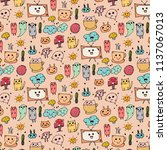 pattern with hand drawn doodle...   Shutterstock .eps vector #1137067013