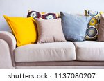 multi colored pillows on a...   Shutterstock . vector #1137080207