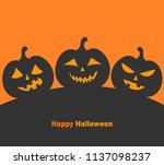 jack o' lantern pumpkins.... | Shutterstock .eps vector #1137098237