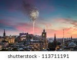 Fireworks in Edinburgh Castle at sunset - stock photo