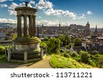 View of the castle from Calton Hill in sunny day - stock photo