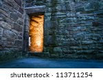 Dramaric light in the ancient castle - stock photo