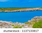 menorca island rocky coast with ... | Shutterstock . vector #1137133817