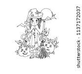 girl on halloween. vector ... | Shutterstock .eps vector #1137172037