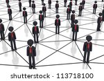 Human Network - High quality render - - stock photo