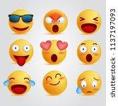 set 3d illustration emoticon... | Shutterstock .eps vector #1137197093