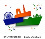 indian independence day design... | Shutterstock .eps vector #1137201623