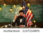 bearded man with dollar money... | Shutterstock . vector #1137210893