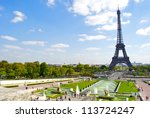 trocadero fountain and the... | Shutterstock . vector #113724247