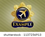 gold badge or emblem with... | Shutterstock .eps vector #1137256913