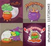 cauldron pot halloween banner... | Shutterstock .eps vector #1137282443