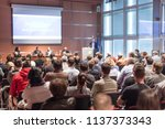 round table discussion at... | Shutterstock . vector #1137373343