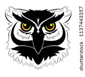 black and white symmetric owl... | Shutterstock .eps vector #1137443357