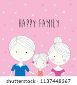 happy family cute cartoon... | Shutterstock .eps vector #1137448367