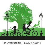 family in the park | Shutterstock .eps vector #1137471047