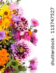 Stock photo beautiful bouquet of bright flowers isolated on white 113747527