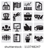 vector black election icons set ... | Shutterstock .eps vector #113748247
